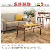センターテーブル/ローテーブル 【引き出し3杯付き】 幅80cm 木目調 『サンド』 ナチュラル