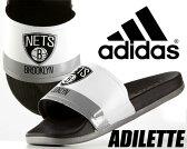 """【アディダス サンダル アディレッタ】adidas ADILETTE """"Brooklyn NETS"""" ftwht/cblaxk-chsogr【日本未発売】(NBA PACK)"""
