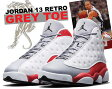 "NIKE AIR JORDAN 13 RETRO ""GREY TOE"" wht/blk-t.red-c.grey"