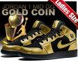 【ナイキ ジョーダン レディースサイズ】NIKE AIR JORDAN 1 MID GG mtlc goold coin/blk