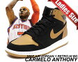 "【ナイキ ジョーダン レディースサイズ】NIKE AIR JORDAN 1 RETRO HI BG ""CARMELO ANTHONY"" blk/m.gold-wht"