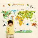 ウォールステッカー アニマルワールド 世界地図 動物 キッズ kids シール 壁紙 ポスターゆうメールで送料無料【代引・あす楽・日時指定不可】