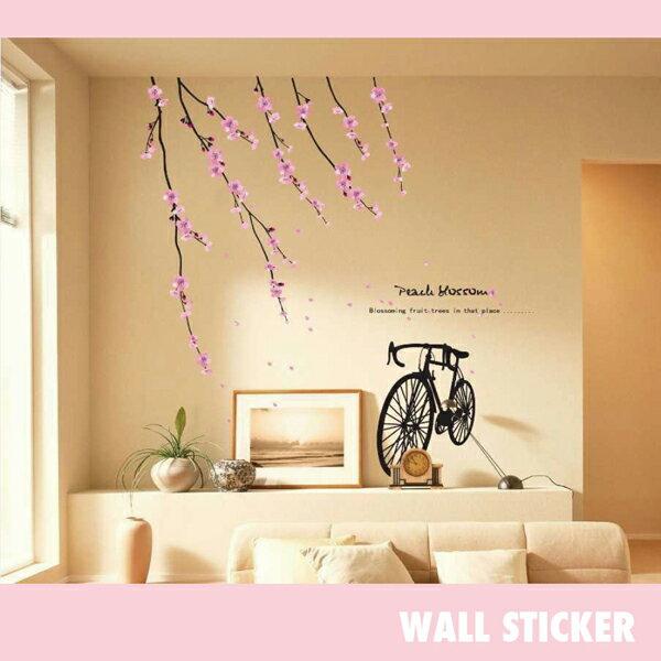 ウォールステッカー/桜・自転車☆フラワー☆サクラ 北欧 シール 壁紙 ガーデン ゆうメールで送料無料【代引・あす楽・日時指定不可】