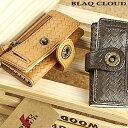 バスケット型押しキーケース コンパクトウォレット 長財布 メンズ財布 メンズ ブランド 財布 レザーサイフ ブラッククラウド ルージー