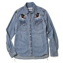 【SALE30】新作 REMI RELIEF ( レミレリーフ ) / デニム ウエスタン ナチュラル加工 インディゴ虎刺繍 シャツ【ユーズドブルー】【送料無料】