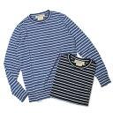 S/S 新作 REMI RELIEF ( レミレリーフ ) / インディゴボーダー 天竺ニット ロングスリーブTシャツ【ユーズドブルー/ブルー】【送料無料】