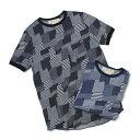 レミレリーフ / REMI RELIEF / Tシャツ / インディゴ パッチワーク ジャガード【ユーズドブルー/ブルー】