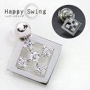 「Happy Swing ハッピースウィング」男女兼用 ダイヤモンド 0.10ct K18 PG WG 18金 ピンタック スクエアの上に煌く結晶 ペアネックあり /白・透明(ホワイト)/受注生産品・新品/届30/【動画】/ ギフト