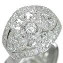 ダイヤモンド リング/指輪 1.0カラット プラチナ900 PT900 豪華 1カラット 迫力 幅広 /白・透明(ホワイト)/【中古】/届5/ラックジュエル luckjewel/1点もの