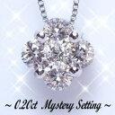 プリンセスフラワーダイヤモンドペンダントネックレス カラット ダイヤモンド ミステリー セッティング
