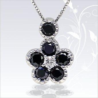【プラチナ】PT900/天然ブラックダイヤモンド×ダイヤモンド[SIクラス/無色透明] 0.50ct フラワーペンダントネックレス【送料無料】【SALE】【半額】