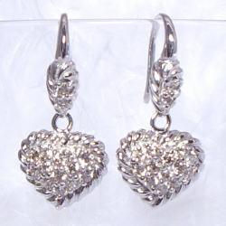 K18 0.5ctダイヤモンドハートパヴェフックピアス0.5