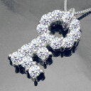 pt900鍵 ダイヤモンドネックレス ペンダント『Clef qui Ouvre』ハートアンドキューピットキー key 幸運のモチーフ 記念日 プレゼント 誕生日 ペアジュエリー