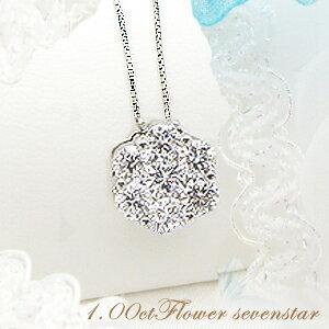 プラチナ フラワーダイヤモンドペンダントネックレス カラット