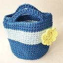 ショッピングズパゲッティ 【ハンドバッグ】【手編み】【Lumioヤーン】ズパゲッティバッグ 日本製 ブルー ライトブルー