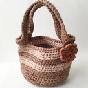 ショッピングズパゲッティ 【ハンドバッグ】【手編み】ズパゲッティバッグ 日本製 ベージュ ブラウン