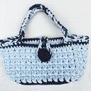 ショッピングズパゲッティ 【ハンドバッグ】【手編み】【Lumioヤーン】ズパゲッティバッグ 日本製 サテン ブルー
