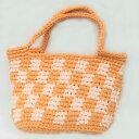 ショッピングズパゲッティ 【ハンドバッグ】【手編み】【Lumioヤーン】ズパゲッティバッグ 日本製 オレンジ