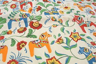 Sample half & half cut cloth ARVIDSSONS TEXTIL アルビッドソンズテキ style Leksand leksand Dalecarlian horse 75 x 50 cm Scandinavian fabrics / cloth