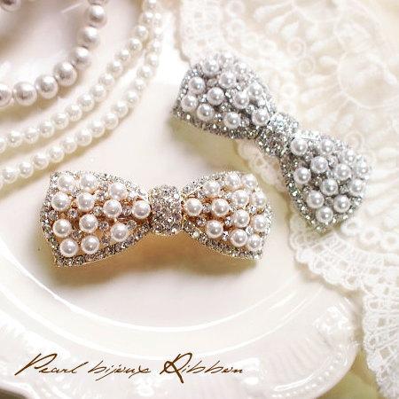 レディなムード漂う パール&ビジュー リボンバレッタ...:lunejewelry:10000514