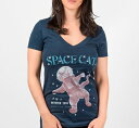 [Out of Print] Ruthven Todd / Space Cat V-Neck Tee (Midnight Navy) (Womens)