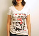 [Out of Print] Jack Kerouac / On The Road V-Neck Tee (White) (Womens)