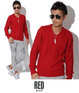 レッド・赤・ニット・セーター・メンズ・秋・冬・メンズファッション