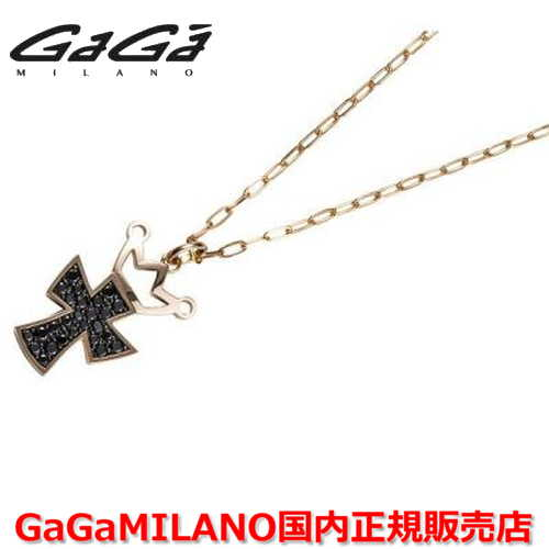 【国内正規品】GaGa MILANO ガガミラノ Men's/メンズ Ladies/レディース K18 CROSS NECKLACE/クロスネックレス(L) クロス/ブラックダイヤモンド(L)