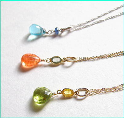 Necklace women's K18/K10 chain natural stone pendant color cut design all of gem