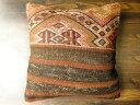 トルコキリム クッションカバー 40cm マラティヤ産OLD 40年経過 オールドの風合いと秀逸ジジム織りを実感