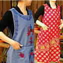 エプロン 母の日 ワンピみたいに 布たっぷり かわいい 刺繍いっぱい エプロンドレスエプロン 母の日 ワンピみたいに 布たっぷり かわいい 刺繍 コットンの風合いが優しい感触