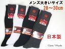 メンズ大寸無地ソックス/リブソックス/28〜30cm/抗菌防臭加工/カジュアルソックス/メンズ靴下