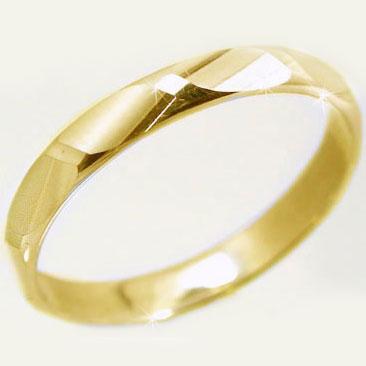 ゴールドk10 ダイヤカット加工 ペアリング 結婚指輪 ピンキーリングにおすすめ K10yg 指輪