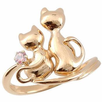 【送料無料】猫 リング ピンクトルマリン ねこ ネコ 指輪 ピンクゴールドk18 10月誕生石 レディース 人気 シンプル k18pg ゴールド 18金 18k ファッションリング  猫 リング ピンクトルマリン 指輪 ピンクゴールドk18  通販 ネット限定販売 ローズゴールド プレゼントとしてすばらしいです