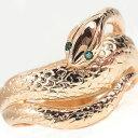 【送料無料】婚約指輪 エンゲージリング ダイヤモンド スネークリング ピンクゴールドK18 ブルーダイヤモンド 蛇リング 指輪 ヘビ レディース ブライダルジュエリー ウエディング ダイヤモンド ダイヤモンドリング 18金 18k ファッションリング