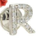 【送料無料】ピンブローチ イニシャルブローチ(R) ダイヤモンド ラペルピン ダイヤ0.22ct ホワイトゴールドK18 人気ブローチ ネームジュエリー 18k