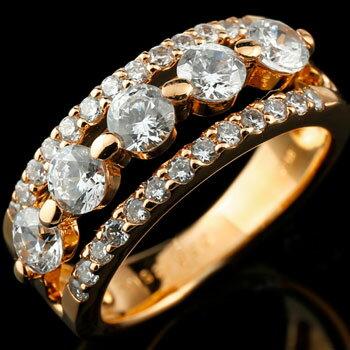 【送料無料】婚約指輪 エンゲージリング エンゲージ ダイヤモンド 幅広 ピンクゴールドk18 レディース 【3週間】 ブライダルジュエリー ウエディング ダイヤモンド ダイヤモンドリング 18金 18k  豪華なダイヤモンドリング 大粒ダイヤを5石使い贅沢な仕上がりとなっていますダイヤモンドリング ダイヤリングステディリングとしても 通販 ネット限定販売