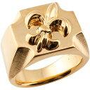 【送料無料】メンズ 印台リング 幅広 指輪 ユリの紋章 ピンクゴールドk18 ピンキーリング 18金 男性用 18k 地金リング ギフト 【5号以下対応不可】