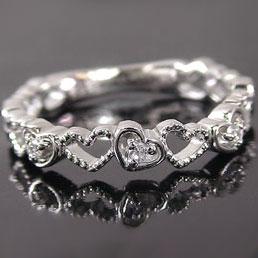 ハート/ダイヤリング:ホワイトゴールドk18:ダイヤモンドリング/K18wg指輪ダイヤ0.03ct【送料無料】 ハート/ダイヤモンドリング:ホワイトゴールドk18?浅い
