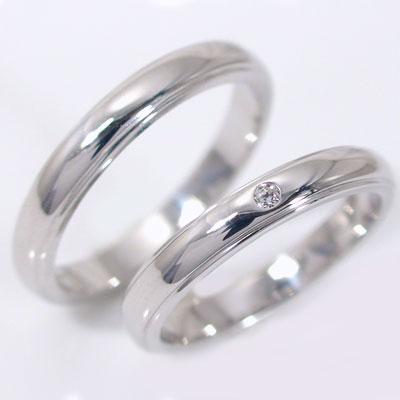 結婚指輪:マリッジリング:ペアリング:ホワイトゴールドk18:ダイヤモンド:ペア2本セット/K18wg指輪ダイヤ0.02ct:甲丸ストレートライン 結婚指輪,マリッジリング,ペアリング:ホワイトゴールドk18(2本セット)【送料無料】