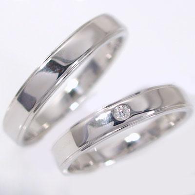 結婚指輪:マリッジリング:ペアリング:ホワイトゴールドk18:ダイヤモンド:ペア2本セット/K18wg指輪ダイヤ0.02ct:平打ちストレートライン 結婚指輪,マリッジリング,ペアリング:ホワイトゴールドk18(2本セット)【送料無料】