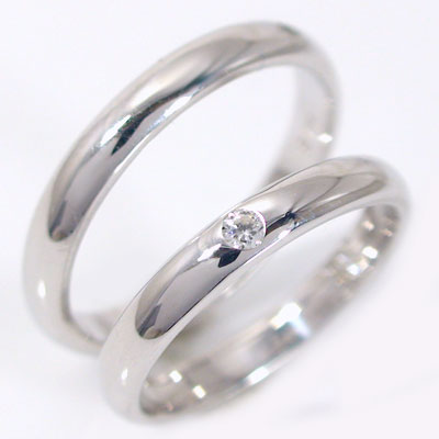 ペアリング:結婚指輪:マリッジリング:ホワイトゴールドk18:ダイヤモンド:ペア2本セット/K18wg指輪ダイヤ0.05ct:甲丸ストレートライン ペアリング:ホワイトゴールドk18/結婚指輪,マリッジリング(2本セット)ダイヤ0.05ct 贈り物プレゼントにおすすめ【送料無料】
