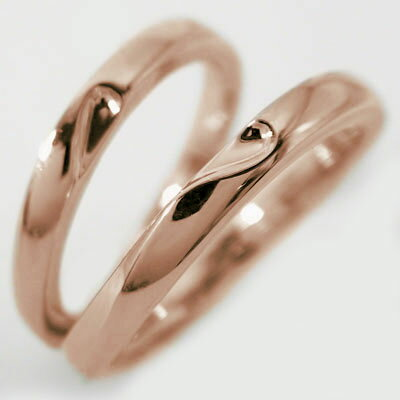 結婚指輪:マリッジリング:ペアリング:ピンクゴールドk10:ペア2本セット/K10pg指輪/重ねるとハート 結婚指輪,マリッジリング,ペアリング:ピンクゴールドk10(2本セット)重ね合わせるとハートマーク【送料無料】