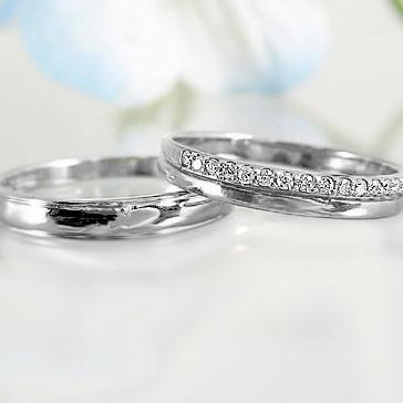 ペアリング 結婚指輪 ホワイトゴールドk18 マリッジリング ペア 2本セット ダイヤモンド K18wg 指輪 ダイヤ 0.10ct【送料無料】