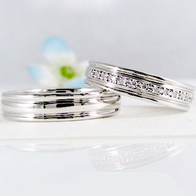 プラチナ結婚指輪:ペアリング:マリッジリング:ダイヤモンド/一文字:ペア2本セット/Pt900指輪ダイヤ0.10ct 結婚指輪,マリッジリング,プラチナ/ペアリング(2本セット)Pt900【送料無料】