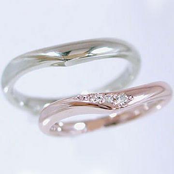 【ペアリング】結婚指輪:マリッジリング:ピンクゴールドk18/ホワイトゴールドk18:ダイヤモンド:指輪:ペア2本セット/K18指輪ダイヤ0.03ct【_包装】 【ペアリング】(2本セット)ピンクゴールドk18/ホワイトゴールドk18:結婚指輪,マリッジリング ブライダル 贈り物プレゼントにおすすめ【送料無料】低い