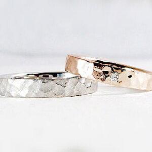 ゴールド ホワイト マリッジリング ダイヤモンド