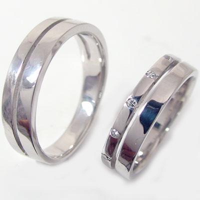 プラチナ/ペアリング:結婚指輪,マリッジリング/Pt900指輪ダイヤ0.06ct:ペア2本セット指輪 プラチナ/ペアリング(2本セット)結婚指輪,幅広ストレートライン:マリッジリングにおすすめ【送料無料】