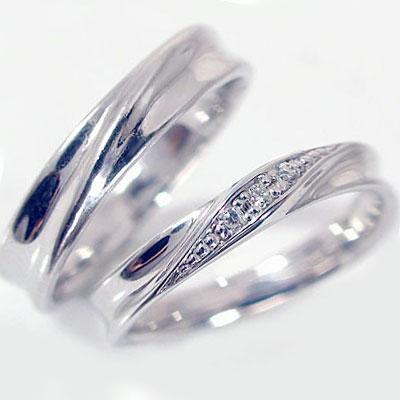 結婚指輪 マリッジリング ペアリング ホワイトゴールドk10 ダイヤモンド ペア2本セット K10wg 指輪 ダイヤ 0.04ct【送料無料】