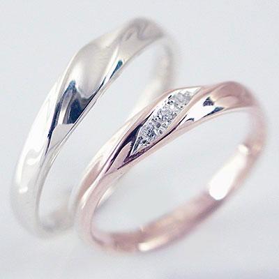 ペアリング:結婚指輪:マリッジリング:ピンクゴールド/ホワイトゴールドk10/ダイヤモンド:指輪:ペア2本セット/k10指輪ダイヤ0.03ct ペアリング(2本セット)ピンクゴールド/ホワイトゴールドk10:結婚指輪,マリッジリングにおすすめ:ダイヤモンド【送料無料】
